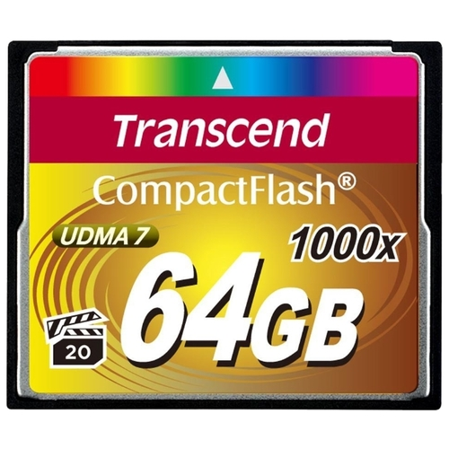 Карта памяти Compact Flash Transcend 64Gb CF (TS64GCF1000), 1000X