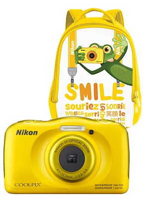 Фотоаппарат Nikon Coolpix S33 (14.7Mp/3x/FullHD/10m), Yellow Backpack kit